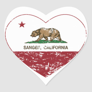 california flag sanger heart distressed heart sticker