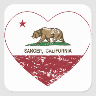 california flag sanger heart distressed square sticker