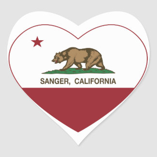 california flag sanger heart heart sticker