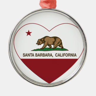 california flag santa barbara heart round metal christmas ornament