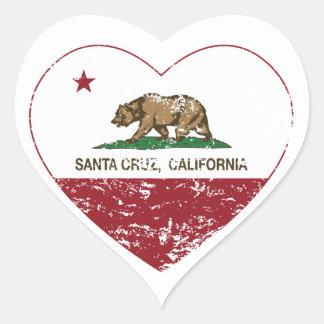 california flag santa cruz heart distressed heart sticker