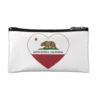 california flag santa monica heart cosmetic bag