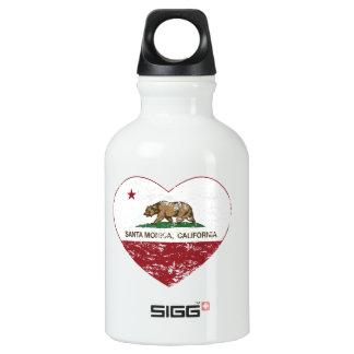 california flag santa monica heart distressed aluminum water bottle