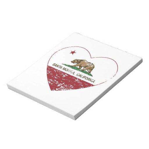 california flag santa monica heart distressed note pad
