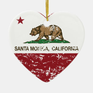 california flag santa monica heart distressed Double-Sided heart ceramic christmas ornament