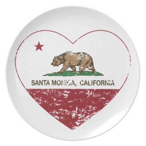 california flag santa monica heart distressed party plate