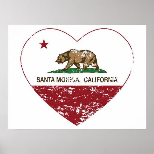 california flag santa monica heart distressed poster