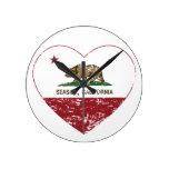 california flag seaside heart distressed round clock