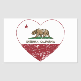 california flag sherman heart distressed rectangle stickers