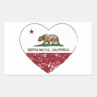 california flag sierra madre heart distressed rectangular sticker