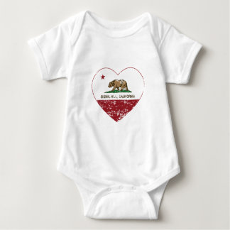 california flag signal hill heart distressed baby bodysuit