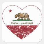 california flag sonoma heart distressed square sticker