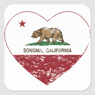 california flag sonoma heart distressed square sticker
