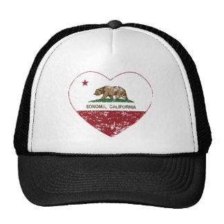 california flag sonoma heart distressed trucker hat