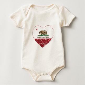 california flag sonora heart distressed baby bodysuit