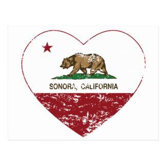 california flag sonora heart distressed postcard