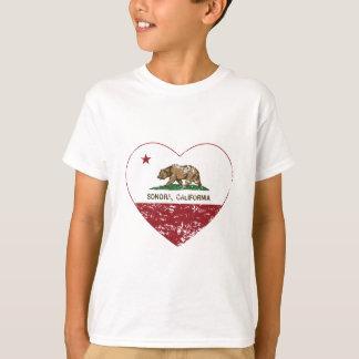 california flag sonora heart distressed T-Shirt