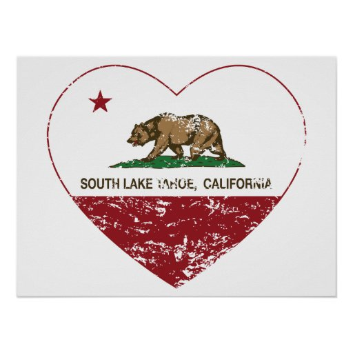 california flag south lake tahoe heart distressed poster