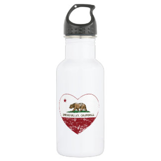 california flag spring valley heart distressed stainless steel water bottle