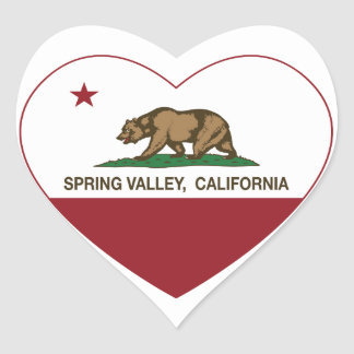 california flag spring valley heart heart sticker