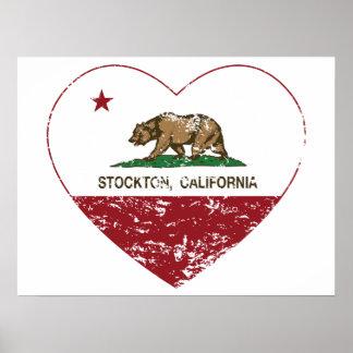 california flag stockton heart distressed posters