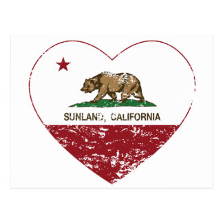 california flag sunland heart distressed postcard