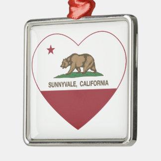 california flag sunnyvale heart square metal christmas ornament