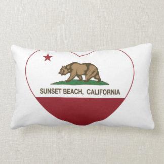 california flag sunset beach heart throw pillows
