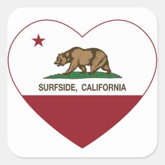 california flag surfside heart square sticker