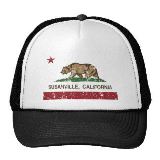 california flag susanville distressed trucker hat