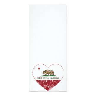 california flag three rivers heart distressed 4x9.25 paper invitation card