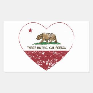 california flag three rivers heart distressed rectangular sticker