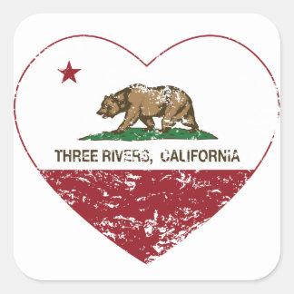 california flag three rivers heart distressed square sticker