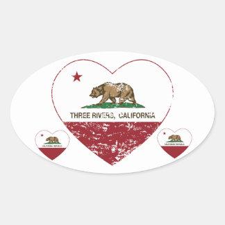 california flag three rivers heart distressed oval sticker