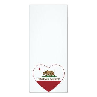 california flag three rivers heart 4x9.25 paper invitation card