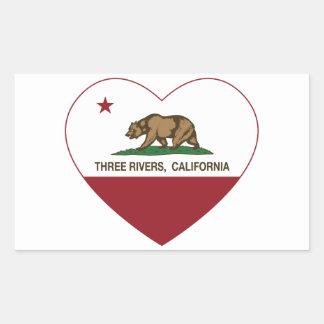 california flag three rivers heart rectangular stickers