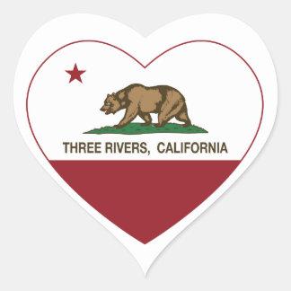 california flag three rivers heart heart sticker