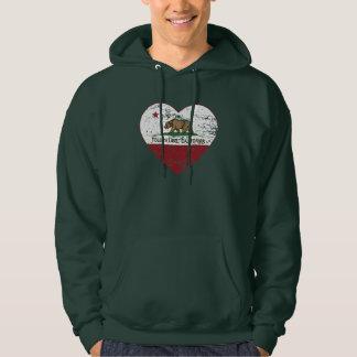california flag toluca lake heart distressed hooded sweatshirt