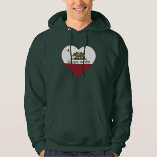 california flag toluca lake heart hooded sweatshirt
