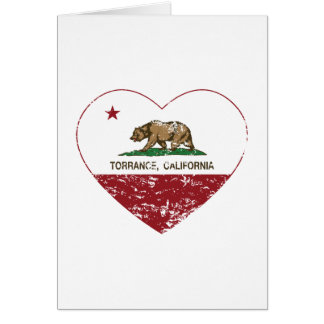 california flag torrance heart distressed greeting card