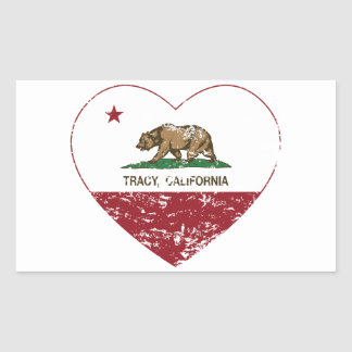 california flag tracy heart distressed rectangle stickers