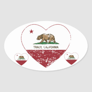 california flag tracy heart distressed oval stickers