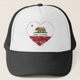 california flag ukiah heart distressed trucker hat