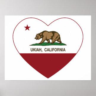 california flag ukiah heart poster