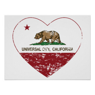 california flag universal city heart distressed poster