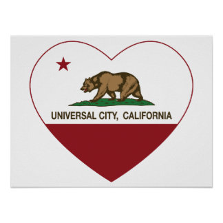 california flag universal city heart posters