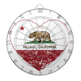 california flag vallejo heart distressed dartboard with darts