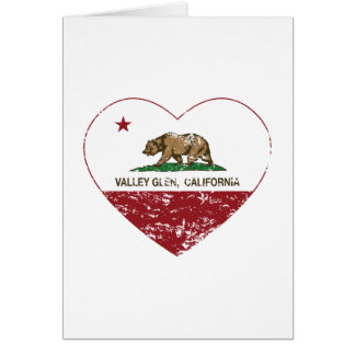 california flag valley glen heart distressed greeting card