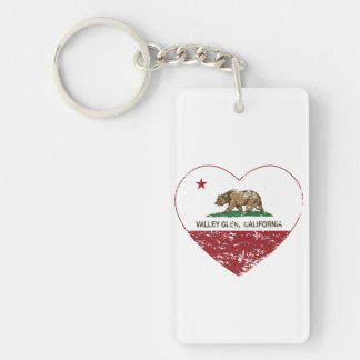 california flag valley glen heart distressed Double-Sided rectangular acrylic keychain