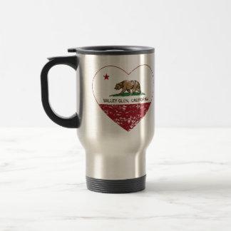 california flag valley glen heart distressed 15 oz stainless steel travel mug